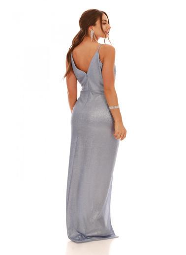 Carmen İndigo Laklı Şifon Kruvaze Yırtmaçlı Abiye Elbise İndigo